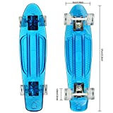 Gfone Penny Board Mini Cruiser Skateboard Komplett Retro mit LED Rollen/Deck 57cm Crystal Komplettboard für Kinder Erwachsene (EU Lager)