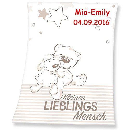 Babydecke mit Namen bestickt Decke 75x100 cm Geschenk zur Taufe zur Geburt Kinderdecke Drache Bär Schmetterling Hase (Lieblingsmensch)