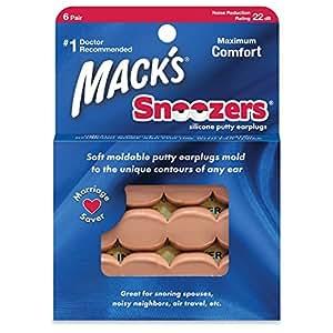 Mack's Snoozers Boite de 6 paires de bouchons d'oreilles en silicone