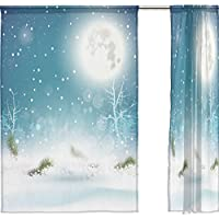 jstel Merry Christmas 2 pezzi tenda in voile, colore blu Natale Neve Notte, Tulle Sheer Curtain Drape Valance 139,7 x 198,1 cm Set di due pannelli, Poliestere, Blue, 55x78x2(in)