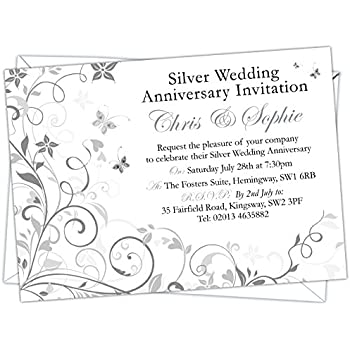 Personalised silver wedding 25th anniversary invitations design personalised silver wedding 25th anniversary invitations design code swa 004 pack of stopboris Images