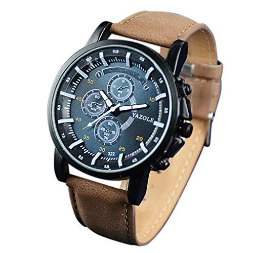 Knowin Uhren 2019 Mode Yazole Herrenuhr Top Marke Business Männliche Uhr Quarz-Armbanduhr Freizeit Leder Quarzuhr Sport-Business-Quarzuhr für Herren mit Handschlaufe