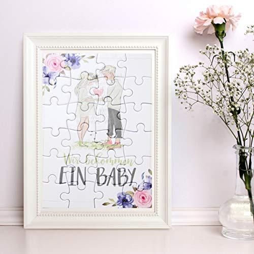 """A6 Puzzle mit 24 Teile \""""Wir bekommen ein Baby\"""" zur Verkündung der Schwangerschaft - Geschenkidee für Freund, Ehemann, Eltern, Großeltern, Geschwister, Freunde"""