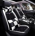 YRRC Leder und Ice Silk Autositzbezug, atmungsaktive Innenverkleidung, Wear & Dustproof, mehrere Farben erhältlich,White