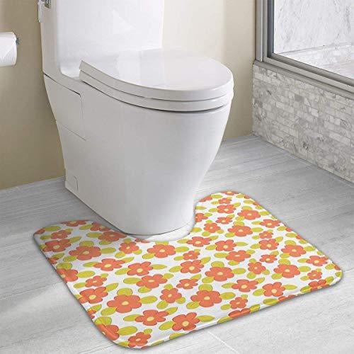 Cute Flowers and Green Leaves Water Uptake Toilet Rug and Customized Artwork Print Bathroom Carpet Rug Bath Mat 15.8 X 19.3in -