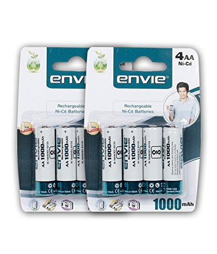 Envie 8 Nos of AA 1000 mAh Ni-Cad Rechargeable Battery