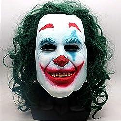 CHENZHAOL Joker Origin Movie Horror Scary Clown Mask con Peluca Verde Cosplay Joaquin Phoenix Arthur Fleck Máscara de látex Halloween Props