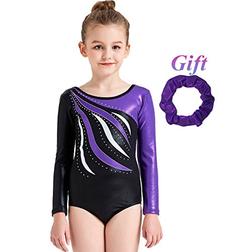 Hougood Turnanzug für Mädchen Langarm Leotard für 3-10 Jahre alt Kinder Gymnastik Trikot Kostüm Ballettkleidung Gymnastik Kleidung Turnanzug Ballett Bekleidung - Langarm-gymnastik-trikots