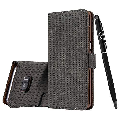 Galaxy S7 Edge Hülle (Nein für S7), Galaxy S7 Edge Schutzhülle Leder Hülle, Alfort Retro Premium PU Tasche Case Cover Flip (Dunkelbraun) + Schwarz Stylus Pen Case Cover Stylus Pen
