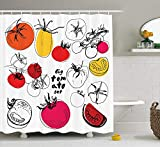 MSGDF Doodle Shower Curtain, Big Set of Sketched Tomatoes Organic Vegetables in Vivid Colors Fresh and Juicy, Cloth Fabric Bathroom Decor Set with Hooks, 60 X 72inch, Multicolor