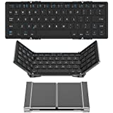 UnTech Trifold-Pro Ultra Slim Design Bluetooth Aluminium Keyboard for All Devices Windows PC iOS Android Tablet (Black)
