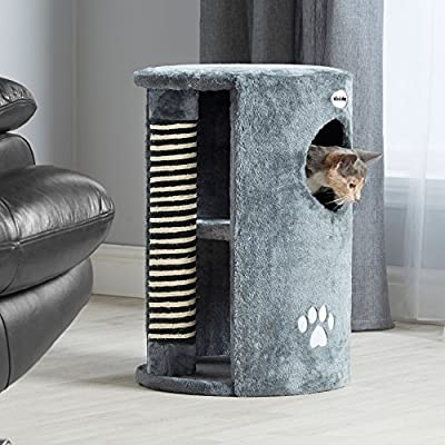 Milo & Misty Cat Scratching Post Tree Activity Centre - 58 x 41 cm - Grey by Milo & Misty