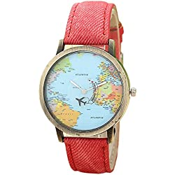 WINWINTOM Global Travel By Plane Map Denim Fabric Band Watch