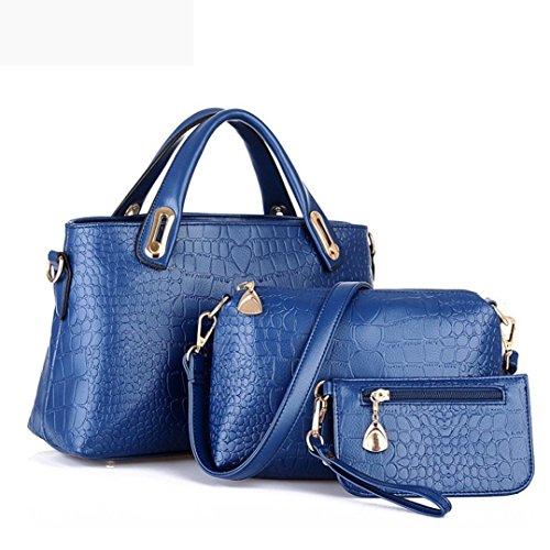 Sac à main, FeiTong Femme sac bandoulière fourre-tout Sac à main en cuir PU Ladies Messenger Hobo Bleu