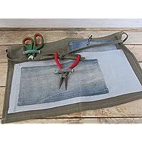 Tablier de jardinage fait main, tablier de bricolage en lin jeans 45 x 27 cm - pochette rangement, Cadeaux anniversaires, cadeaux Noël, cadeaux maman, jardin