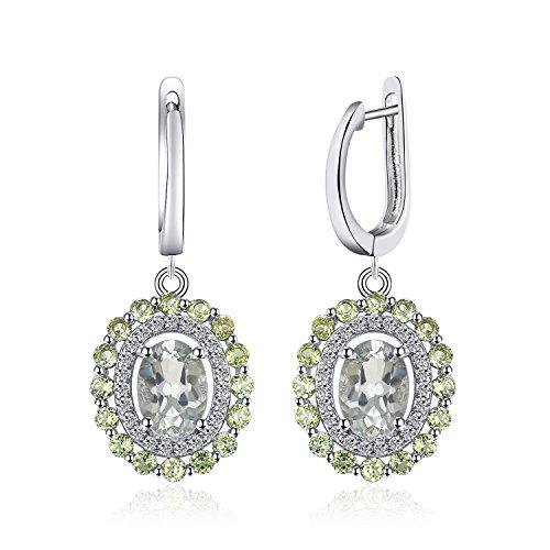 JewelryPalace Mode echt runde Peridot ovalen grünen Amethyst baumeln Ohrringe 925 Sterling Silber