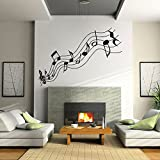 Large music notes vinyl living room wall sticker