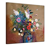 Bilderdepot24 Kunstdruck - Alte Meister - Odilon Redon - Blumenbouquet - 40x40cm einteilig - Bild auf Leinwand - Wandbild