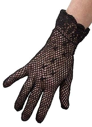Dents Short Cotton Crochet Vintage Dress/Wedding/Evening Gloves - Ladies/Womens - Black