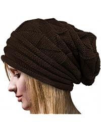 Pixnor Mujeres Beanie gorro lana caliente invierno SKI Snowboard hojas  salida hueco mujer tejer gorro negro d7c0487e3ea