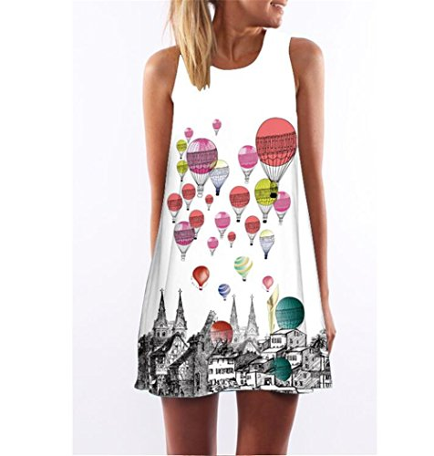 Hippolo abito estivo vestito della – Gilet – SENZA maniche Beach Stampato  abito KSKC00 Mini Vintage a2c68fb7636