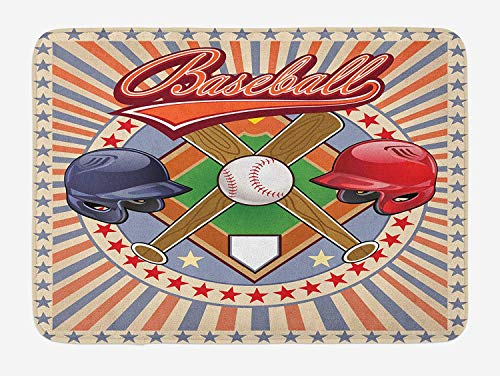tgyew Baseball Bath Mat, Retro Pop Art Baseball Logo with Vertical Striped Setting Bat and Ball Game Print, Plush Bathroom Decor Mat with Non Slip Backing, 23.6 W X 15.7 W Inches, Multicolor -