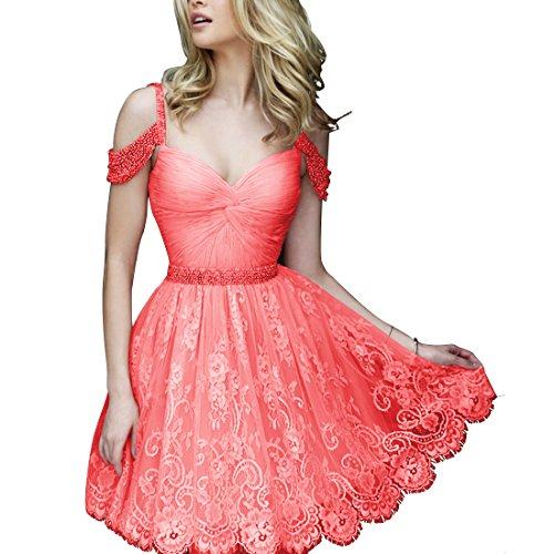 Find Dress Femme Elégant Style Sexy Robe de soirée/Cocktail/Mariage Courte Hors de L'épaule en Dentelle avec des Perles Corail