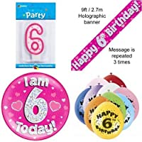 6th Birthday Party Set Age 6 Girls (Banner Balloons, Candle, Badge)