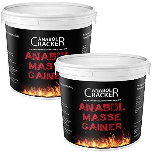 2X Anabol Masse Gainer, Whey Protein Shake, 4000g gesamt, 100% Hardgainer, Eiweißpulver Aminosäuren (4000g Schoko-Karamell + Erdbeere)