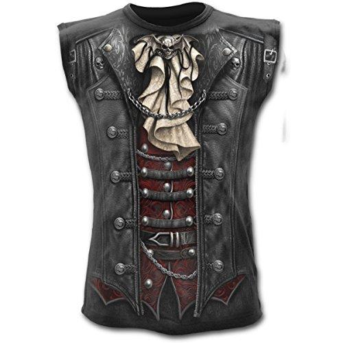 Spiral - Mens - GOTHIQUE WRAP - ärmellos T-Shirt Schwarz - Gothic, Skeleton Schädel Steampunk (L)