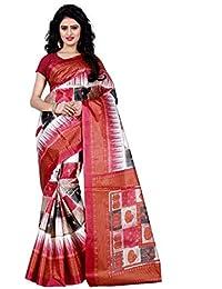 [Sponsored]Being Banarasi Women's Raw Silk Printed Saree Without Blouse Piece(1010_P)