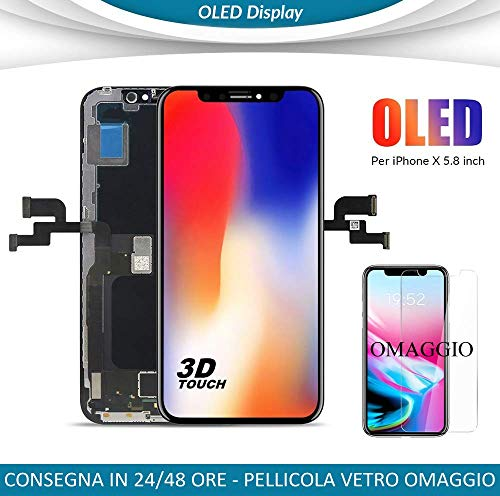 DISPLAY OLED IPHONE X HD VETRO FRAME LCD COMPLETO APPLE IPHONE 10 COME L\'ORIGINALE