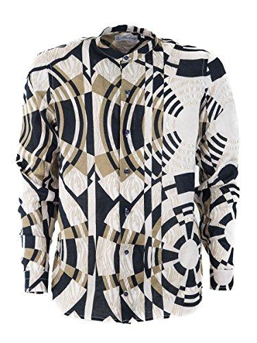 Silvano calabrese camicia lino uomo fantasia geometrica casual, collo coreano, manica lunga estiva, made in italy, in 100% lino (xxl)