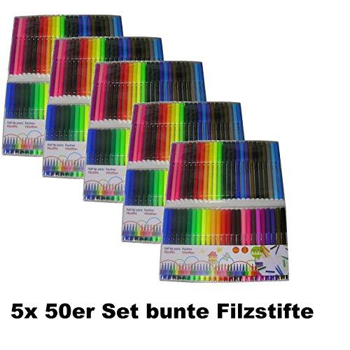 250 bunte Filzstifte Buntstifte Fasermaler Filzschreiber Büro Schule Schulbedarf