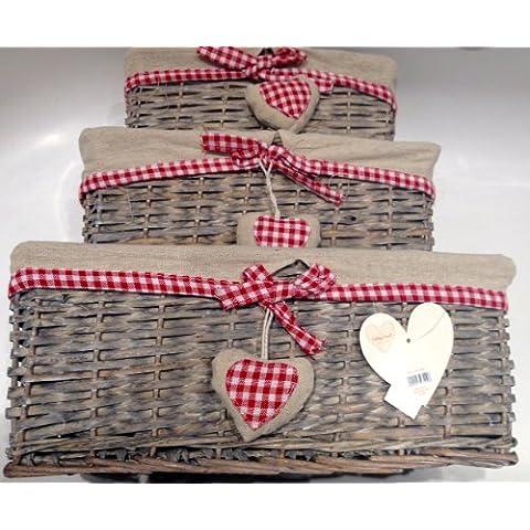 Juego de 3 cestas de almacenamiento, para decorar, diseño de corazones, color rojo