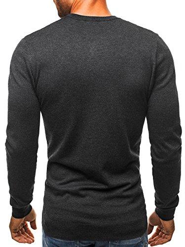 OZONEE Herren Pullover Longsleeve Sweatshirt Shirt Langarmshirt LP6002 Dunkelgrau_BL-M003