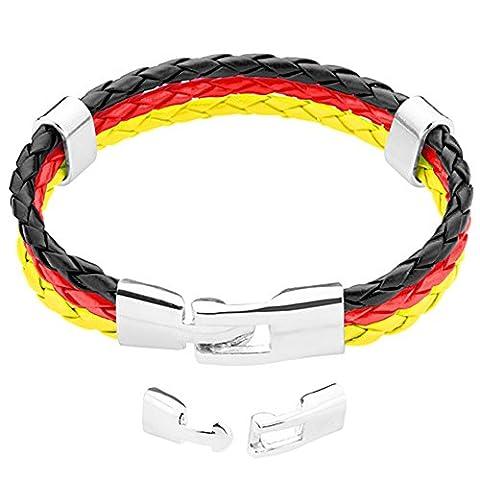 Taffstyle® Stylisches Armband PU Lederarmband Kordelarmband Fanartikel Fussball Weltmeisterschaft WM & EM Europameisterschaft 2016 Länder Style geflochten - Deutschland - (Männerschmuck Armband)