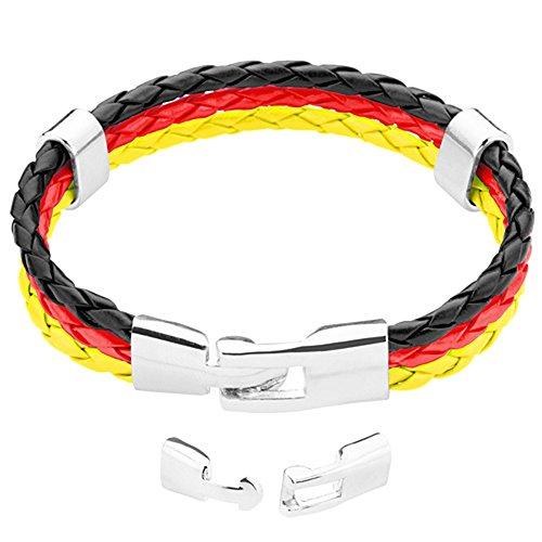 Taffstyle® Stylisches Armband PU Lederarmband Kordelarmband Fanartikel Fussball Weltmeisterschaft WM & EM Europameisterschaft 2016 Länder Style geflochten - Deutschland - 19cm