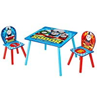 HelloHome Thomas and Friends Table and 2 Chairs, Wood, Blue, 63 x 63 x 52.5 cm