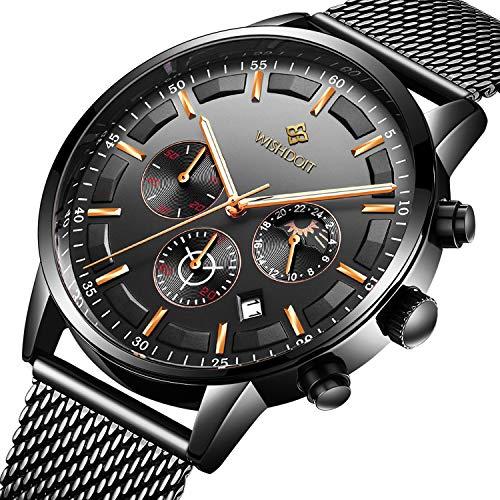 e9d5c4a0649e Relojes para Hombre Moda Impermeable Deportes Cronógrafo Analógico Cuarzo  Reloj de Pulsera Negro Dial Calendario Hombres