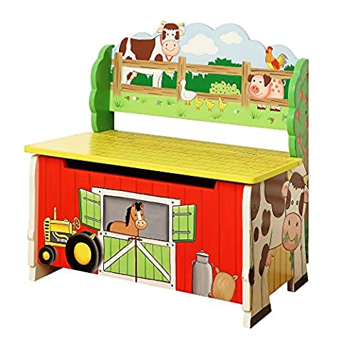 Fantasy Fields - Happy Farm themed Kids Storage Bench | Hand Crafted & Hand Painted (Decor Farm)