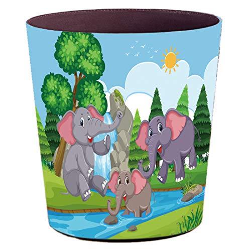 Batop Papierkorb Kinder, 10L Wasserdicht PU Leder Papierkorb Kinderzimmer mit Cartoon Elefant Motif Dekorativ Mülleimer für Kinderzimmer Mädchen Junge