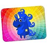 Einhorn Zauberer Blau & Sterne Zauberei Hochwertiges dickes Gummi-Mauspad mit weicher Komfort-Oberfläche