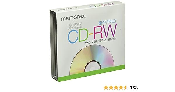5 Memorex Cd Rw 12x Rohlinge 700mb 80min In Slimcase Audio Hifi
