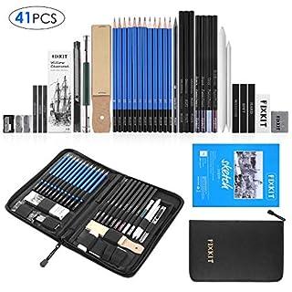 FIXKIT 41pcs Professionelle Skizzierstifte Set, Zeichnung Bleistifte Werkzeug, geeignet für Künstler, Student, Lehrer oder Anfänger(inkl. Skizzenbuch)
