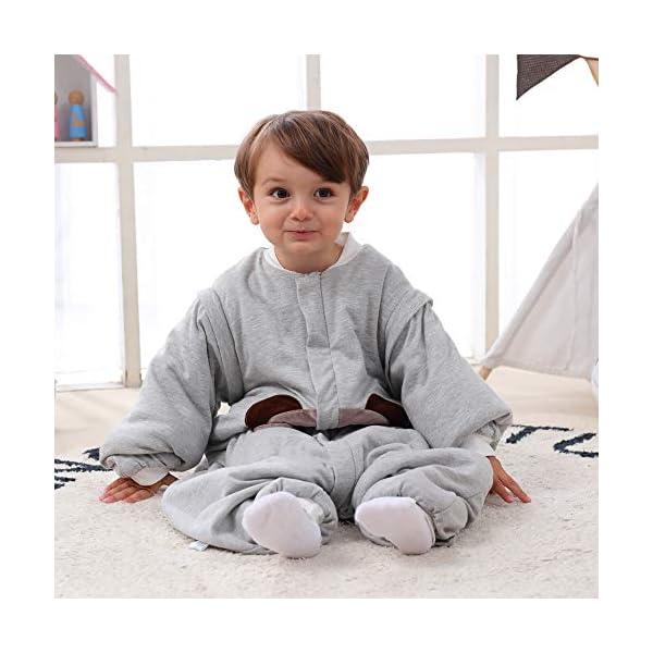 Saco de dormir para bebé, para invierno, oso, niño, niña, recién nacido, pelele – 2,5 TOG, con pies, para todo el año Gris gris Grau Bär Talla:90CM(18-24monate)