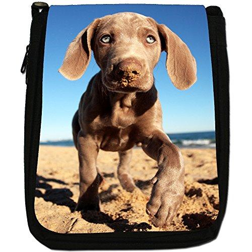 Weimaraner vorstehhund Grigio fantasma Cane Medio Nero Borsa In Tela, taglia M Weimaraner On Sandy Beach