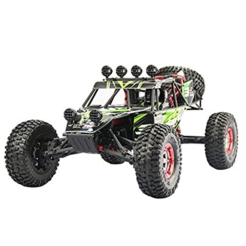 RC Car, HUKOER RC Auto 1:12, 2.4G 4WD Wüste Off-Road Truck Fertig Montiert 2.4GHz Digital vollproportionale Steuerung Monstertruck Truggy Fahrzeug, Fertig Montiert. (Grün)