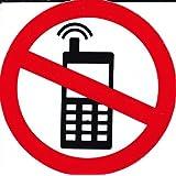 Interdit - Téléphone portable - 10 cm de diamètre autocollant Autocollants