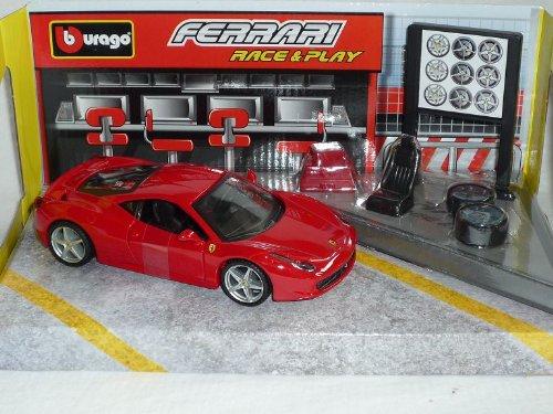 Bburago Ferrari 458 Italia Rot Coupe mit Zubehör 1/32 Burago Modellauto Modell Auto